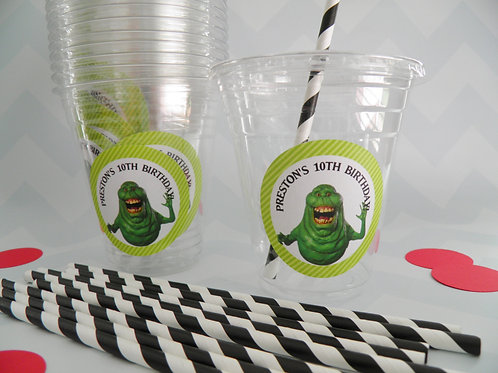 Set of 24- Ghostbuster Party Cups, Lids and Straws