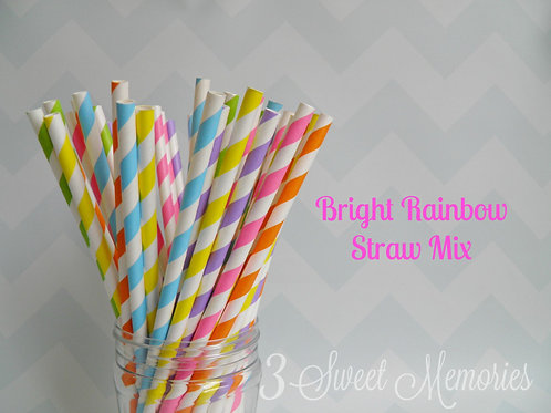 25ct- Bright Rainbow Paper Straws
