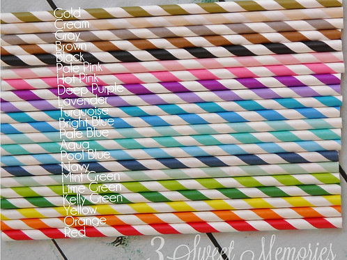 12-50ct Paper Straws- Stripes, chevron, Polka Dot, Star