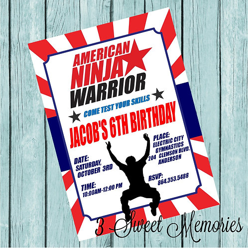 Printable American Ninja Warrior Invitation