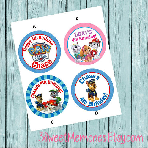 Paw Patrol Sticker or Favor Tags (Set of 12-60)