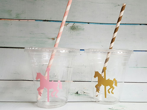 Set of 24- Pink and Gold Carousel Party Cups with Lids and Straws, Merry