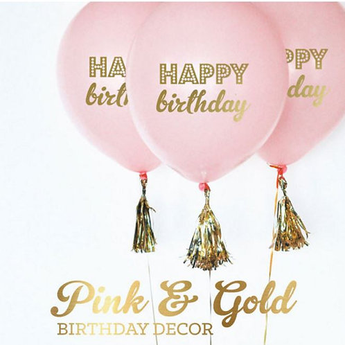 Pink and Gold Happy Birthday Balloons- Set of 3