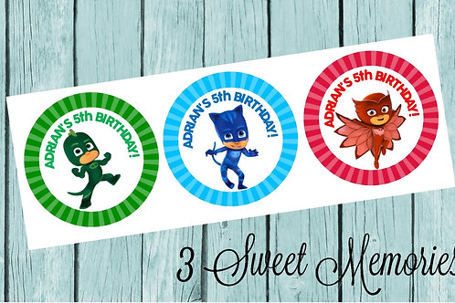 PJ Masks Stickers or Favor Tags- Printed and Shipped to you!