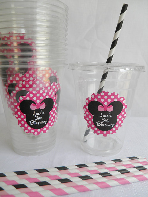 Set of 24- Minnie Mouse Party Cups, Lids and Straws