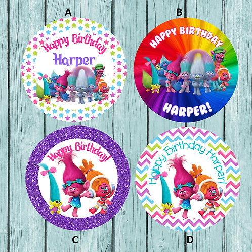Trolls Stickers or Favor Tags (Set of 12-60)