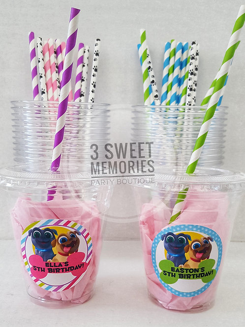 Set of 24- Puppy Dog Pals Party Cups, Lids and Straw