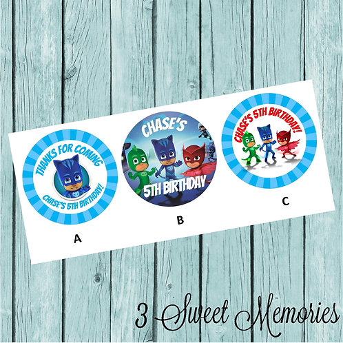 PJ Masks Stickers or Favor Tags