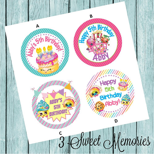 Shopkins Sticker or Favor Tags (Set of 12-60)