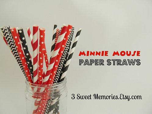 Set of 25- Minnie Mickey Paper Straws