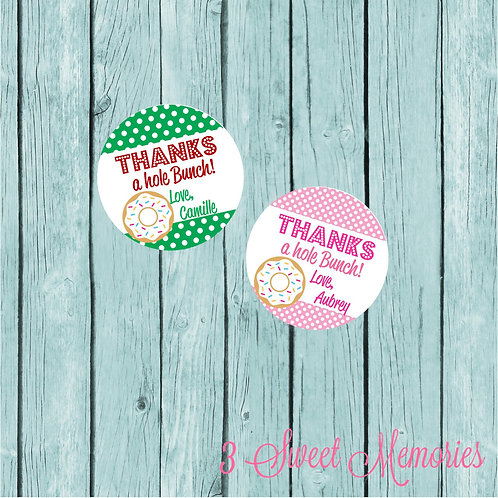 Donut Party Favor Tags or Stickers