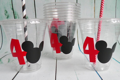 24 Mickey Party Cups with Age, Lids and Straws