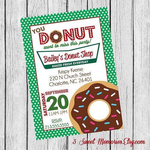 Printable Polka Dot Krispy Kreme Dount Party Invitation