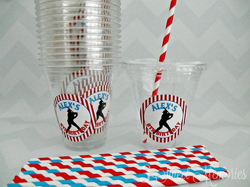 Set of 24-Baseball Party Cups, Lids and Straws