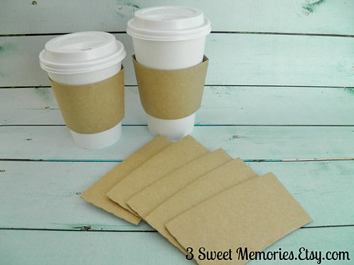 Kraft- Hot Cup Sleeves/Jackets (Set of 10-50)