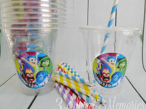 Set of 24-Inside Out Party Cups, Lids and Straws