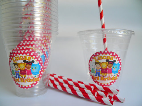 Set of 24-Daniel Tiger Party Cups, Lids and Straws