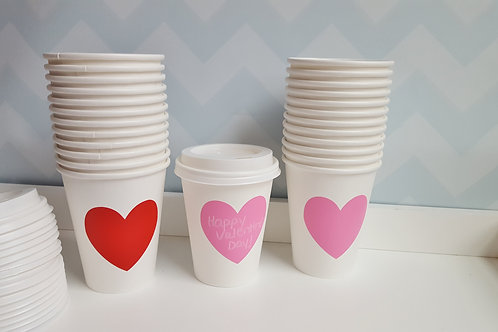 Set of 25- Small 8oz Valentine's Cocoa Cups w/Lids - Paper/Disposable