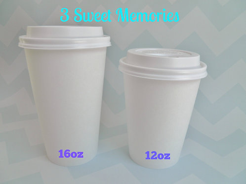 Set of 25- White Disposable Hot Coffee Cocoa Tea Paper Cups with Lids 12oz or 16
