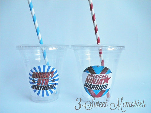 Set of 24- American Ninja Warrior Party Cups, Lids and Straws
