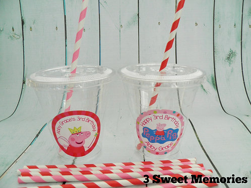 Set of 24-Peppa Pig Party Cups, Lids and Straws