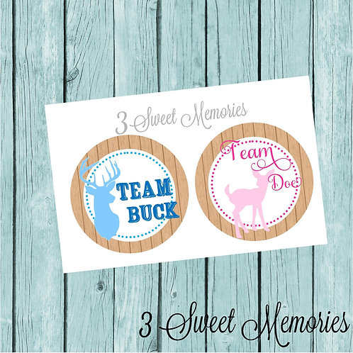 Team BUCK or Team DOE Stickers or Favor Tags (Set of 12-60)