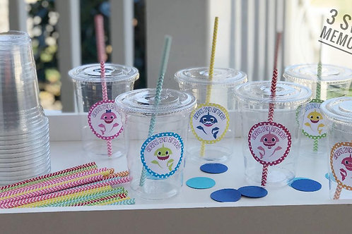 Set of 24- Baby Shark Party Cups with Lids and Straws