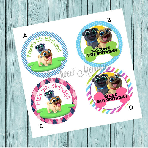 Puppy Dog Pals Sticker or Favor Tags (Set of 12-60)