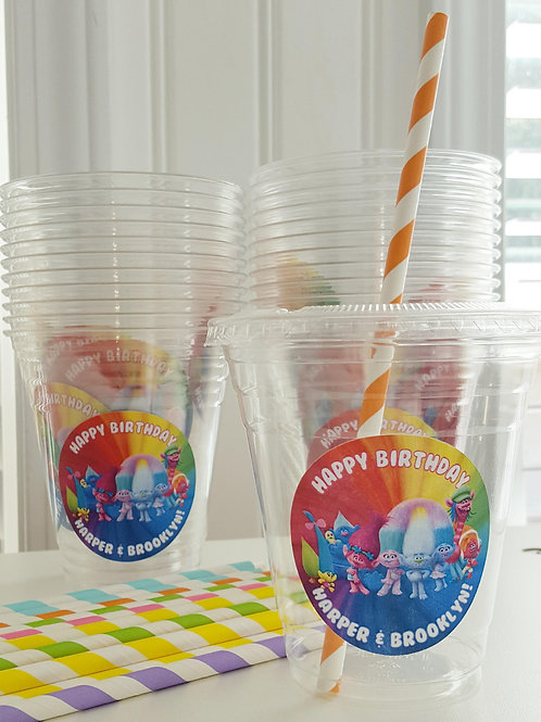 Set of 24-Trolls Party Cups, Lids and Straws