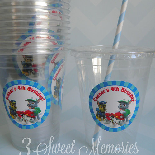 Set of 24-Paw Patrol Party Cups, Lids and Straws