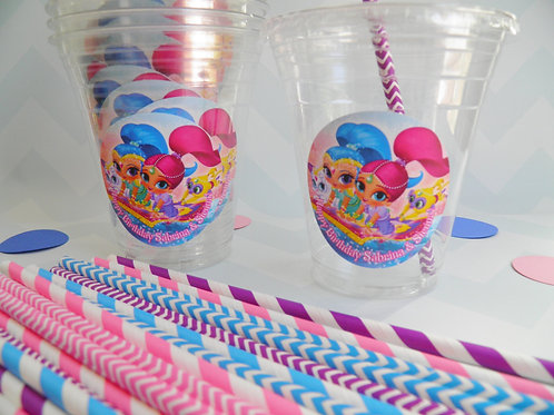 Set of 24-Shimmer and Shine Party Cups, Lids and Straws