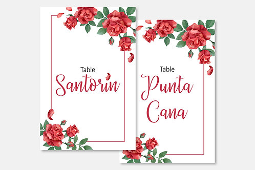 Marque-table Rose rouge