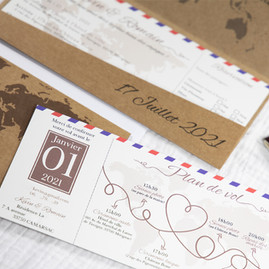 Faire-part mariage billet avion pochette kraft