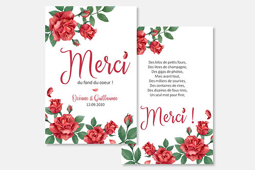 Carte de remerciement Rose rouge