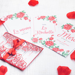 Collection faire-part mariage Roses rouges
