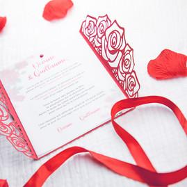 Faire-part mariage Roses rouges