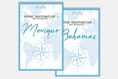 Marque-table voyage