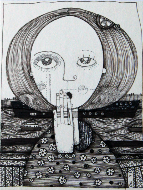 Girl with Rings ink on paper