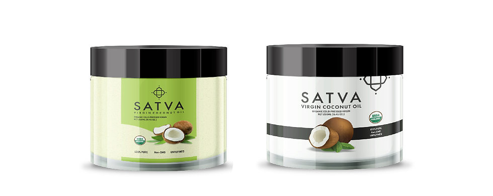Satva Virgin Coconut Oil Label Design by Wesually