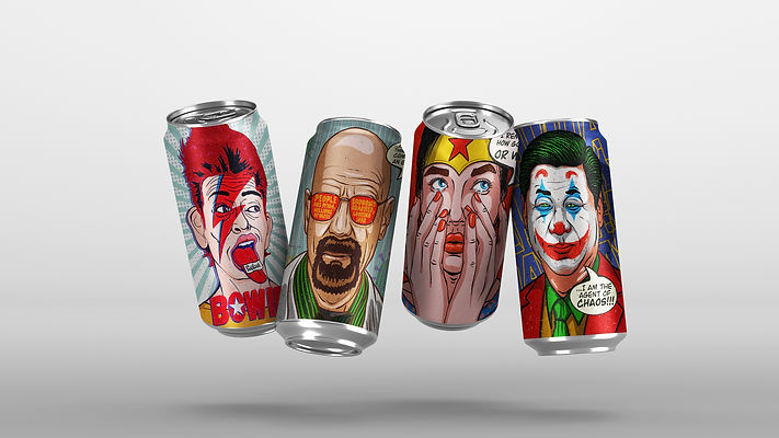 Beer can Superheros themed Design by Wesually