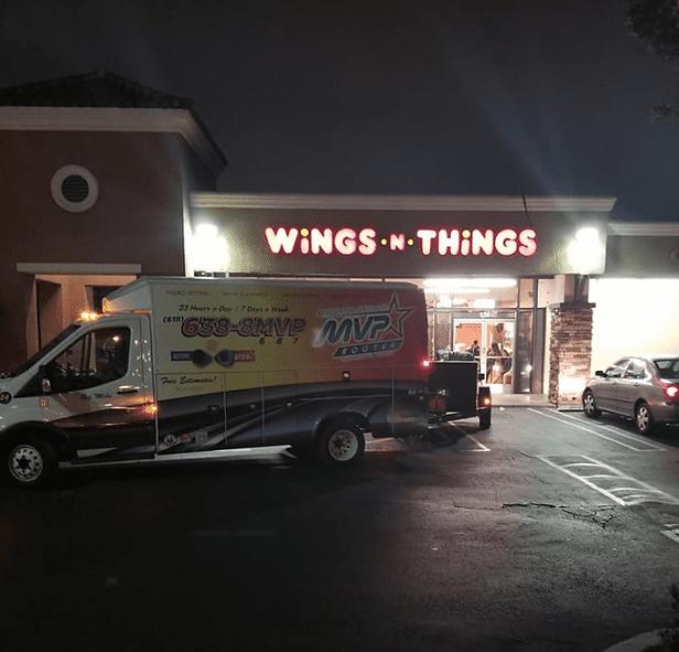 MVP Rooter on location at Wings N Things