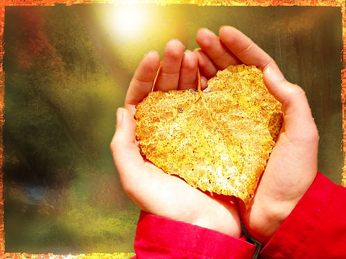 Hands And Leaf Worship Background Image.
