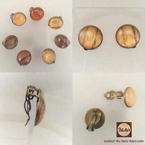 Mécanisme Boucles d'oreilles CLIP en placage bois sous cabochon en verre