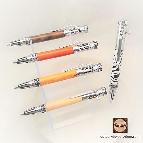 Mécanisme stylo  Formule 1 (F1) en bois ou résine _ Plaquage Chrome