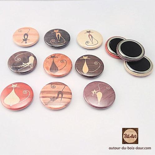 Trio de magnets collection Chat façon marqueterie de placage bois