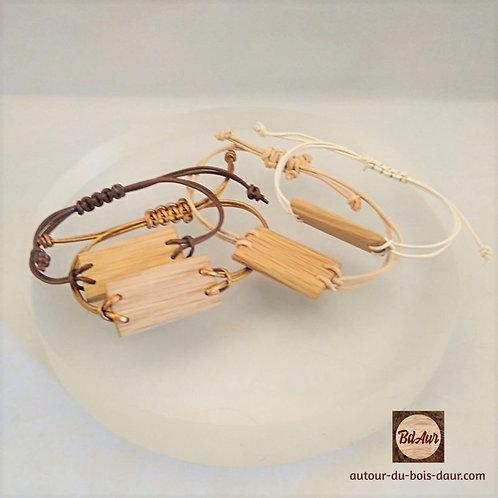 Bracelet perle plate en bois et lien cuir -FICHE PRODUIT TEMPORAIRE