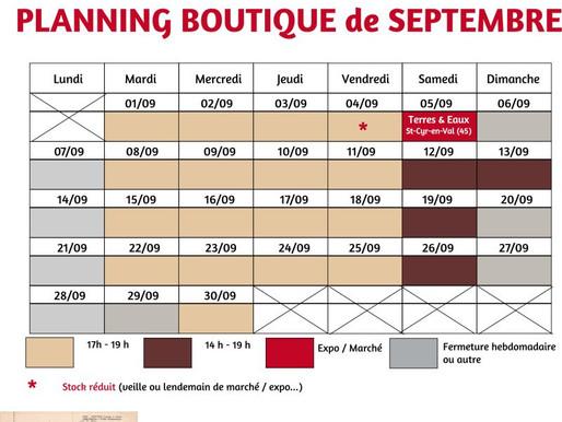 SEPTEMBRE 2020 : Horaires de l'atelier-boutique
