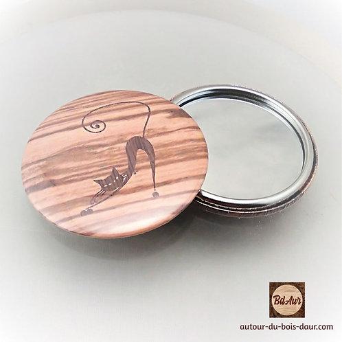 Miroir de sac collection Chat façon marqueterie de placage bois