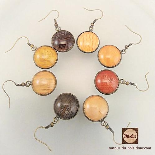 Mécanisme Boucles d'oreilles pendantes en placage bois sous cabochon en verre