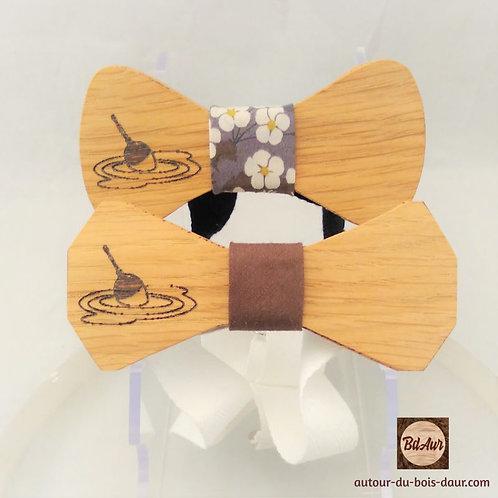"""Noeud Papillon gravé """" Pêche """" en bois (chêne) - tour de noeud interchangeable"""